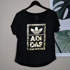 🌴 Adidas Gold Foil Tri Leaf Logo Spell Out T